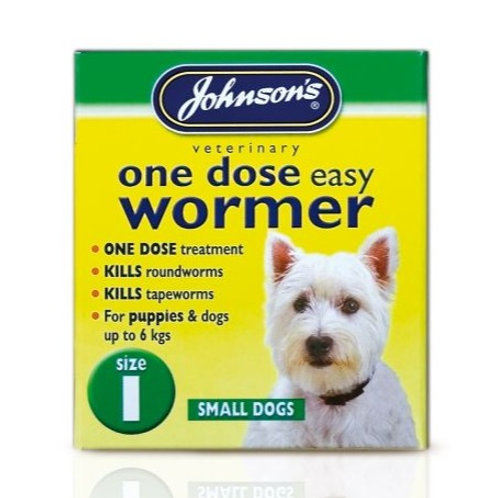 Johnson's One Dose Easy Wormer for Dogs Size 1