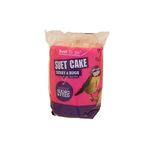 Wild Bird Food Suet To Go Berry and Bugs Hanging Cake Year Round 350g