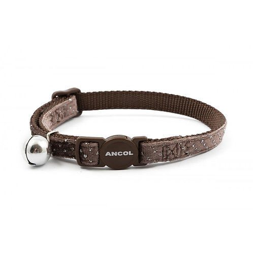 Ancol Cat Collar Velvet Sparkle Coffee 20-30cm
