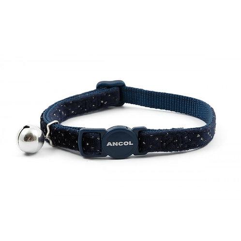 Ancol Cat Collar Velvet Sparkle Navy 20-30cm