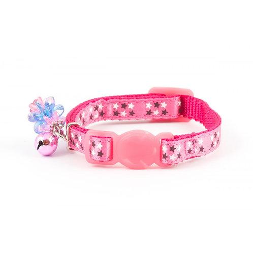 Kitten Collar Stars, Bell & Charm Luxury Quick Safety Release Pink 12-20cm