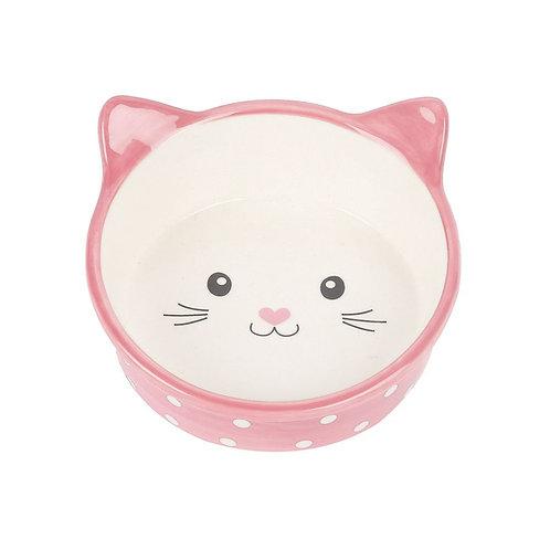 Happy Pet Polka Dot Cat Bowl Pink