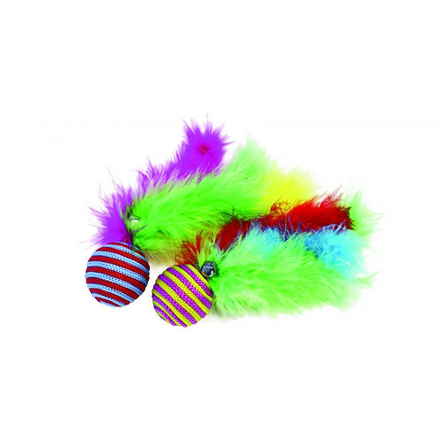 Happy Pet Carnival Cat Feather Ball Teaser Sisal Toy