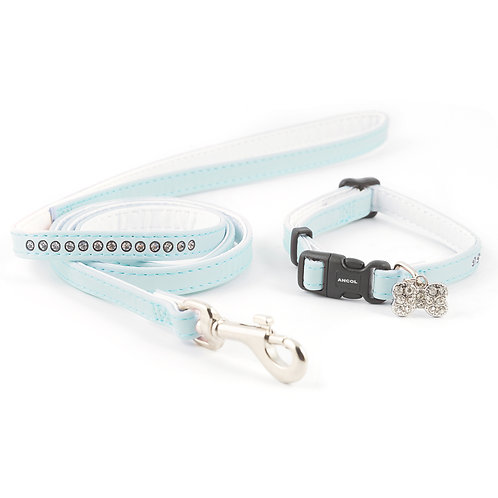 Ancol Small Bite Jewelled Puppy Lead & Collar Set Blue