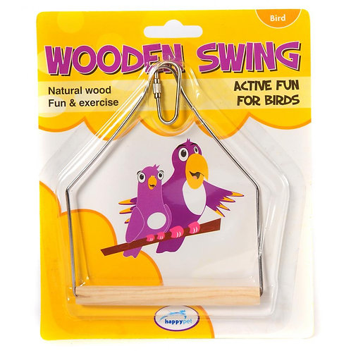 Happy Pet Wooden Bird Swing 16cm