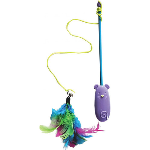 2 in 1 Cat Laser Teaser Dangler Wand with Feathers