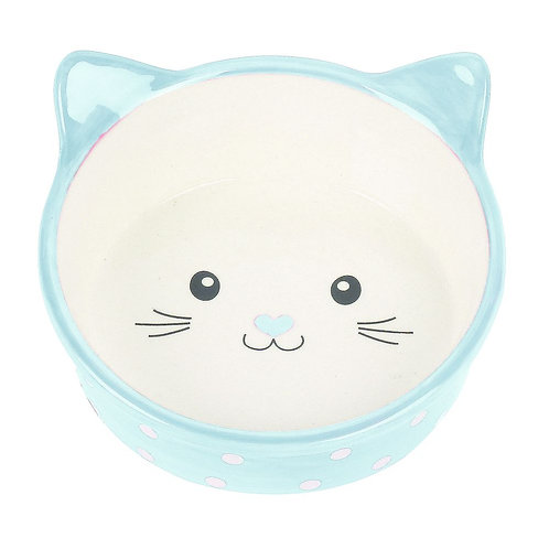 Happy Pet Polka Dot Cat Bowl Blue
