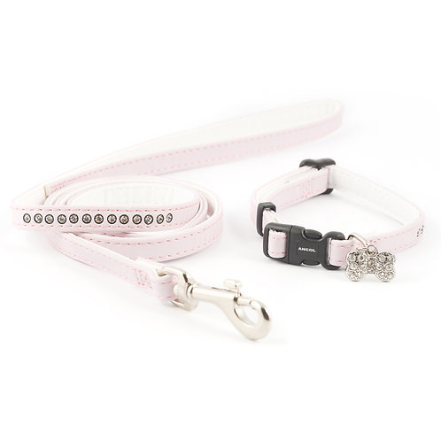 Ancol Small Bite Jewelled Puppy Lead & Collar Set Pink