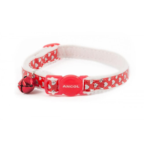 Ancol Cat Collar Hearts Red 20-30cm