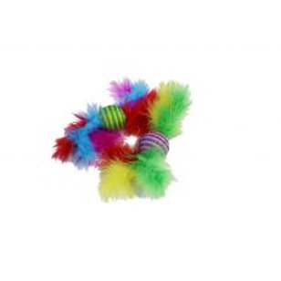 Happy Pet Carnival Cat SISAL Ball Rattler with Feathers Toy 2 Pack