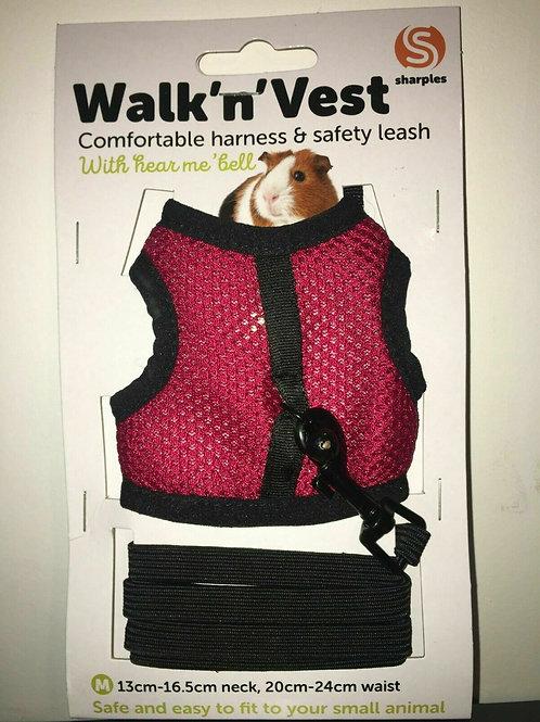 Small n Furry Walk n Vest n Leash Red
