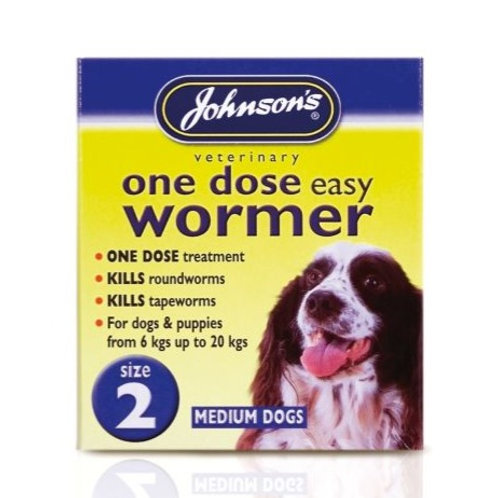 Johnson's One Dose Easy Wormer for Dogs Size 2