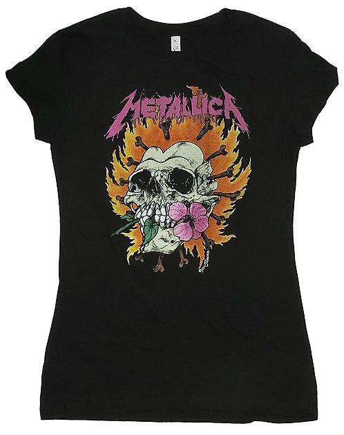 Metallica - Pushead Skull Rose Ladies Tee