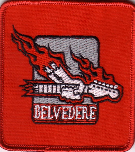 Belvedere - Flaming Guitar Embroidered Patch