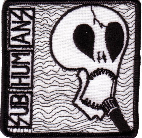 Subhumans - Mic Skull Embroidered Patch