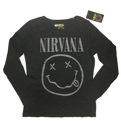 Nirvana - Smiley Face Ladies Longsleeve