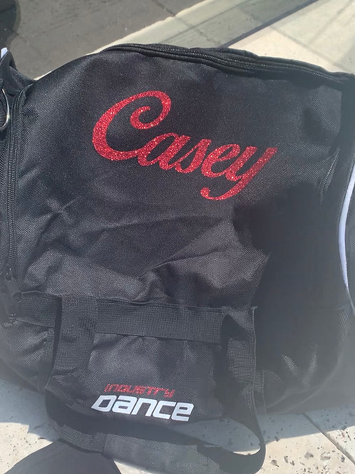 ID DANCE BAG WITH RED GLITTER NAME