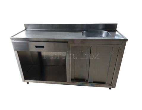 Balcão de Inox para embutir forno industrial