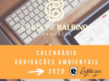 CALENDÁRIO DE OBRIGAÇÕES AMBIENTAIS 2020 - PRAZOS E APLICAÇÕES. INICIE O ANO LEGAL!!!