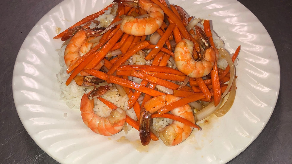 142. Steamed Rice with Stir Fried Shrimp, Carrots & Onions