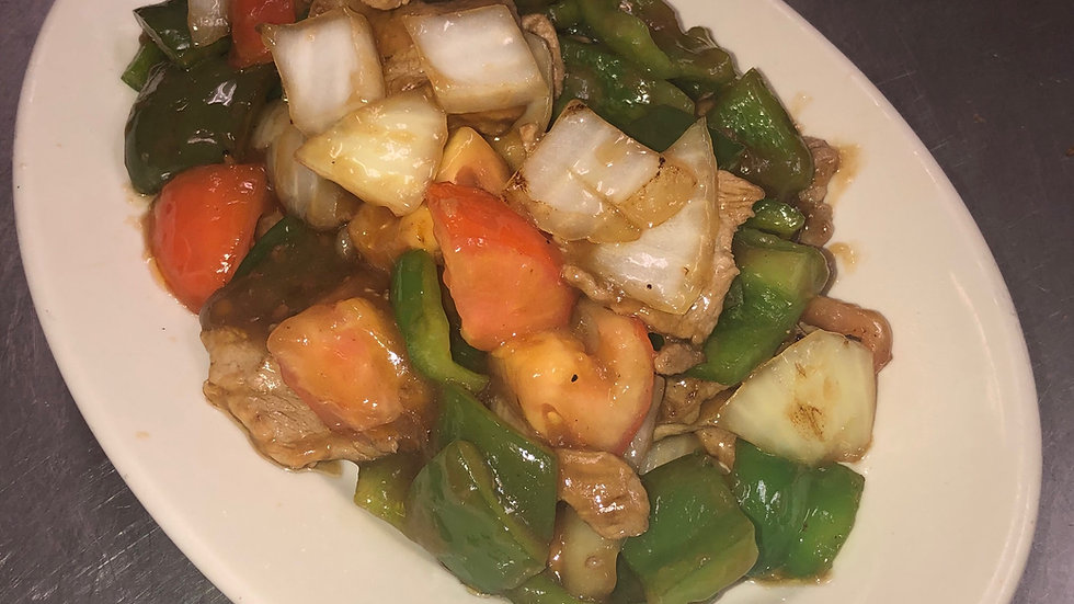 48. Pork with Green Peppers & Tomatoes