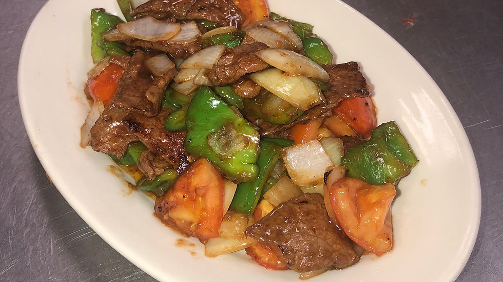 52. Beef with Green Peppers & Tomatoes