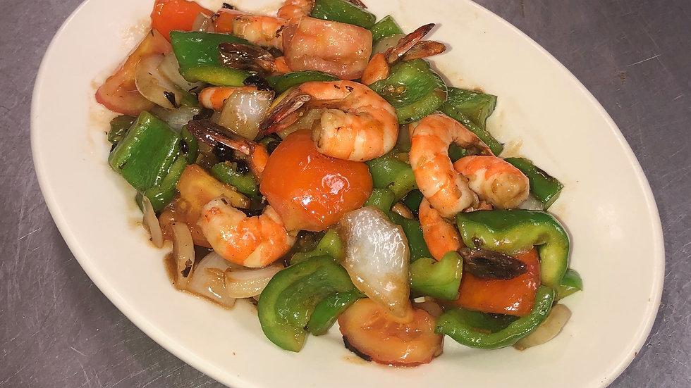 77. Steamed Shrimp with Black Bean Sauce