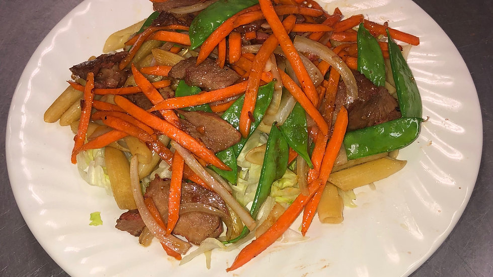 136. Stir Fried Macaroni with Pork, Peapods, Carrots & Onions