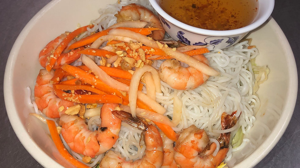 109. Rice Vermicelli with Grilled Shrimp and Fresh Vegetables
