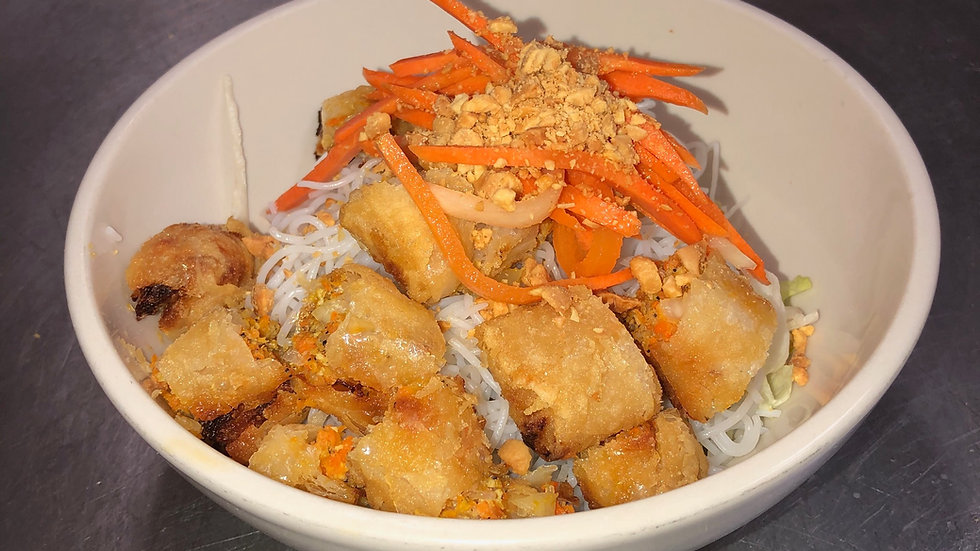 112. Rice Vermicelli with Egg Rolls & Fresh Vegetables