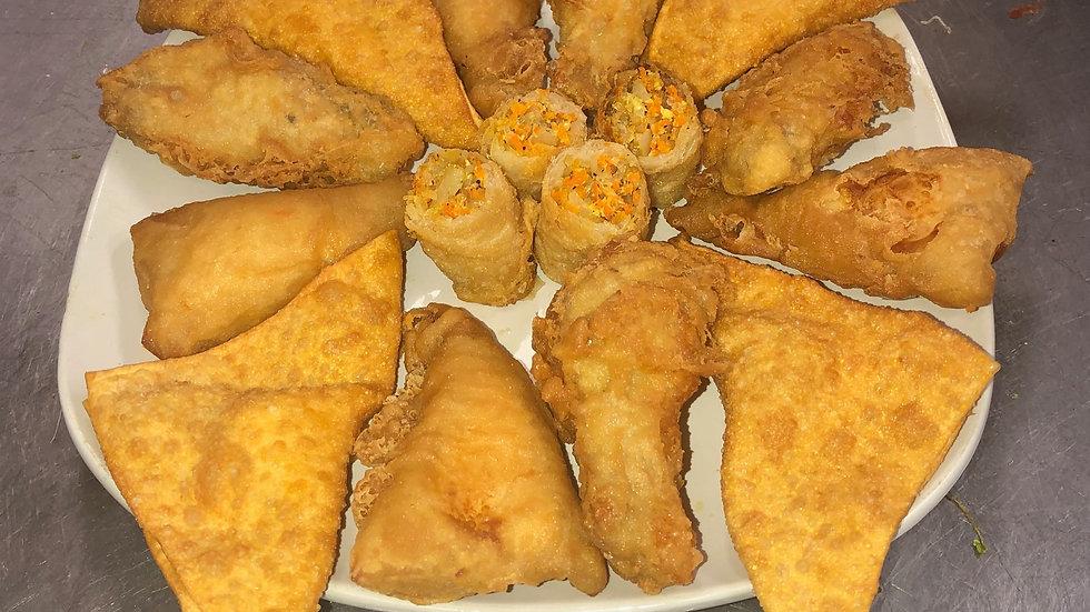 Appetizer Sampler- 4 cream cheese wontons, 1 eggrolls, 6 wings, 2 dumplets