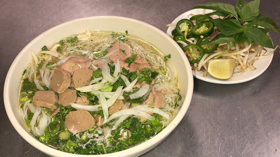93. Rice Noodle Soup with Beef & Meatballs