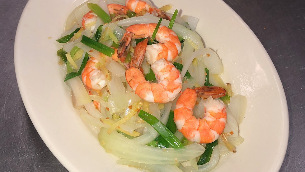 78. Steamed Shrimp with Ginger & Onions