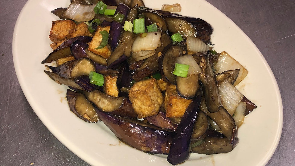 V12. Tofu & Eggplant Stir Fried with Onions and Scallions