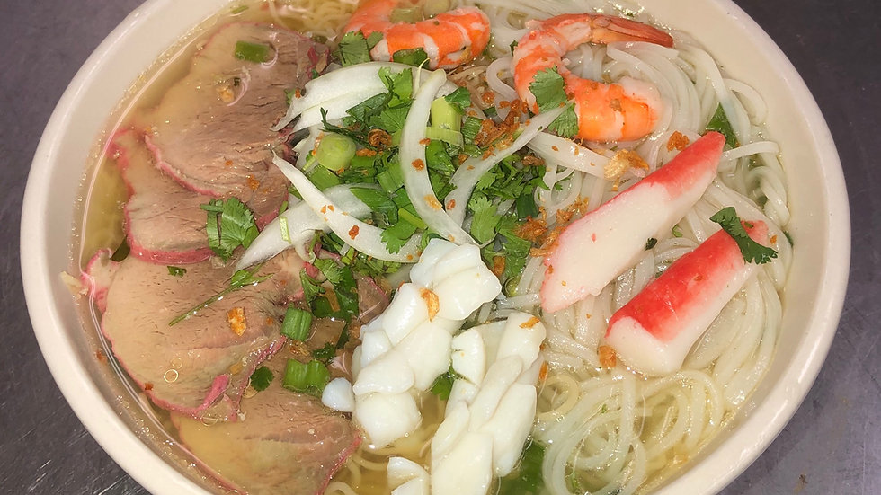105. Rice & Egg Noodle Soup with BBQ Pork & Seafood