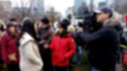 Alice with CP24 at Queen's Park - March