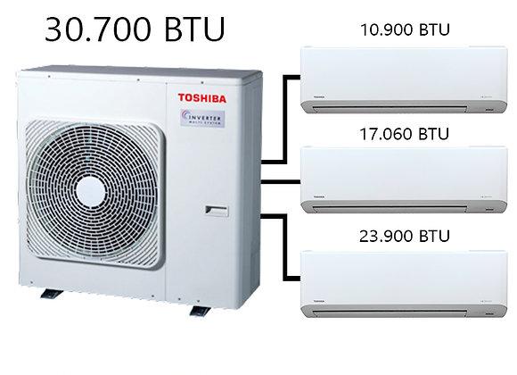 Toshiba Multi Klima 3 lü Kombinasyon 30.700 BTU Dış+10.900 BTU İç+17.000 BTU İç+