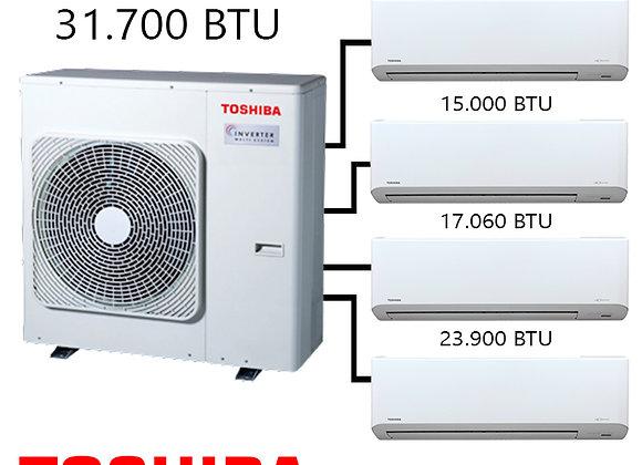 Toshiba Multi Klima 4 lü Kombinasyon 31.700 BTU Dış+10.900 BTU İç+15.000 BTU İç+
