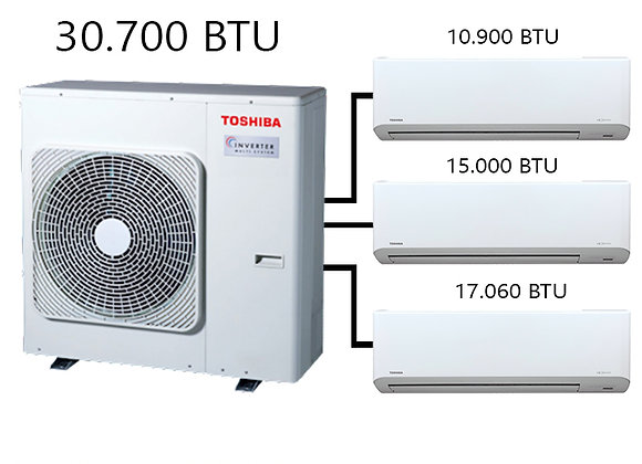 Toshiba Multi Klima 3 lü Kombinasyon 30.700 BTU Dış+10.900 BTU İç+15.000 BTU İç+