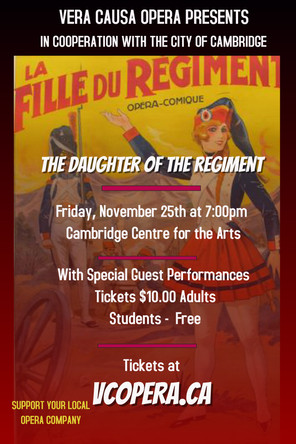 Tickets Go On Sale for Vera Causa Opera's The Daughter of the Regiment
