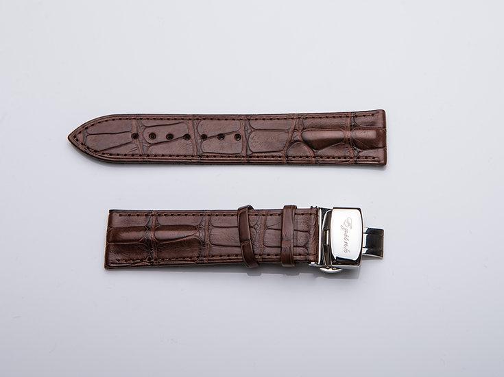Alligator Dark Brown Wrist Band (without buckle)