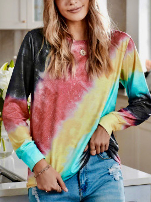 Ombré Red Tie-dye Long Sleeve Top