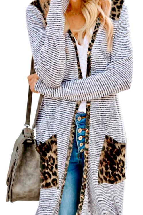 Leopard & Striped Long Cardigan