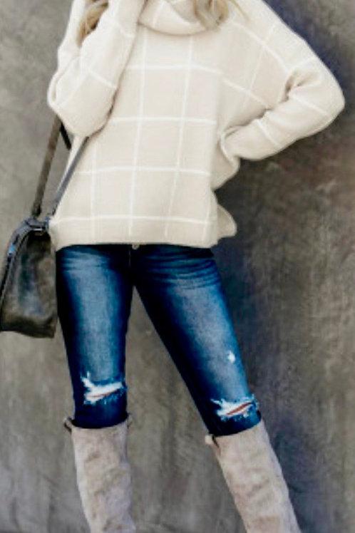 Cream Grid Pattern Turtleneck Sweater