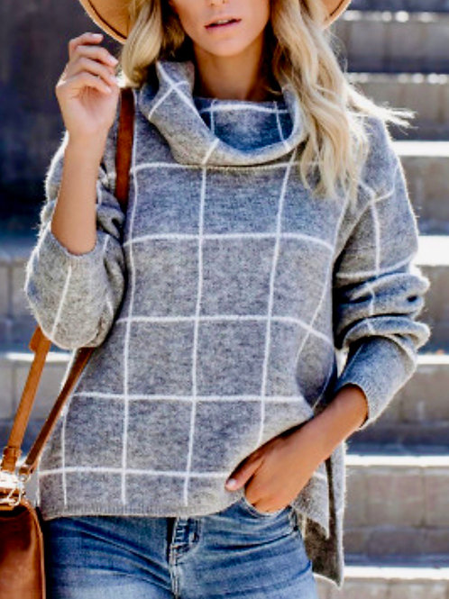 Grey Grid Pattern Turtleneck Sweater