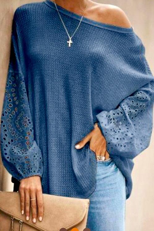 Denim Blue Puffy Sleeve Top