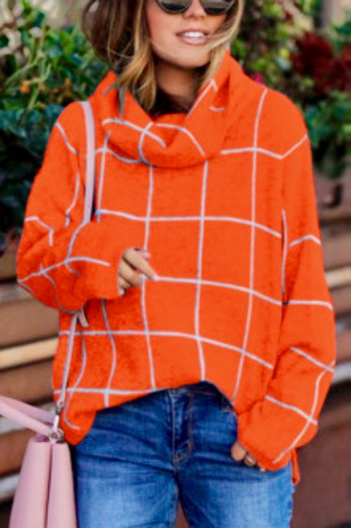 Orange Grid Pattern Turtleneck Sweater
