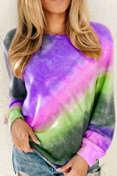 Ombré Purple Tie-dye Long Sleeve Top