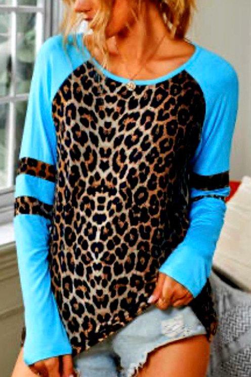 Sky Blue Leopard Raglan Sleeve Top