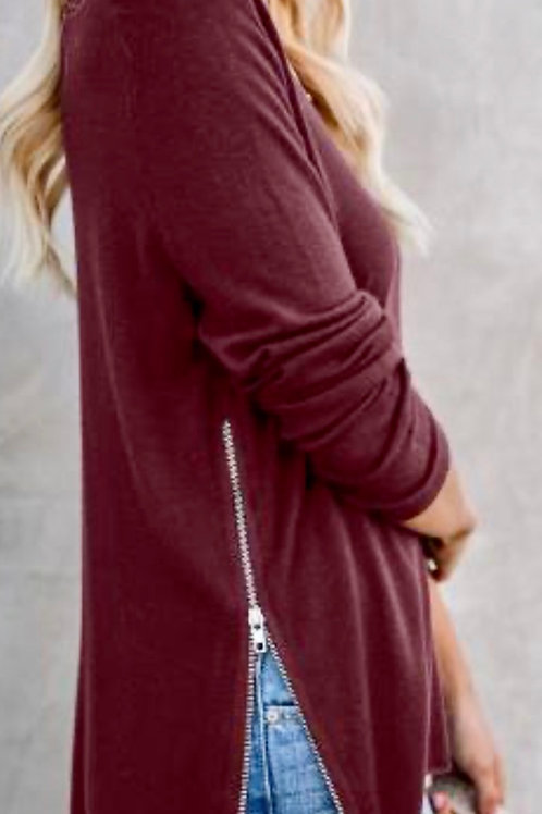 Maroon Side Zip V-Neck